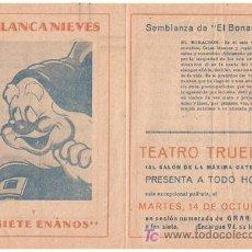 Cine: BLANCA NIEVES Y LOS SIETE ENANITOS PROGRAMA DOBLE FILMOFONO WALT DISNEY EL BONACHON. Lote 18449929