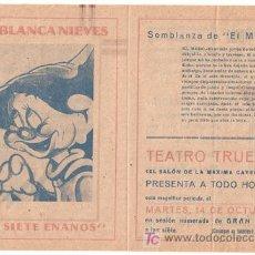Cine: BLANCA NIEVES Y LOS SIETE ENANITOS PROGRAMA DOBLE FILMOFONO WALT DISNEY EL MUDO. Lote 18449930