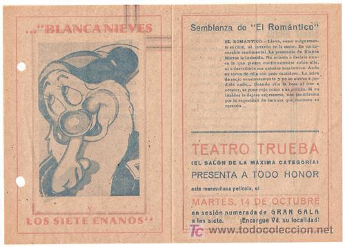 BLANCA NIEVES Y LOS SIETE ENANITOS PROGRAMA DOBLE FILMOFONO WALT DISNEY EL ROMANTICO (Cine - Folletos de Mano - Infantil)