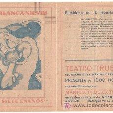 Cine: BLANCA NIEVES Y LOS SIETE ENANITOS PROGRAMA DOBLE FILMOFONO WALT DISNEY EL ROMANTICO. Lote 18449936