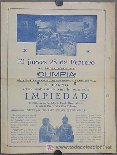 IMPIEDAD 1927 PROGRAMA DOBLE GRANDE LOCAL LEO LASKO DOCUMENTAL CINE MUDO UFA PRIMERA GUERRA MUNDIAL (Cine - Folletos de Mano - Documentales)