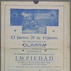 Cine: IMPIEDAD 1927 PROGRAMA DOBLE GRANDE LOCAL LEO LASKO DOCUMENTAL CINE MUDO UFA PRIMERA GUERRA MUNDIAL. Lote 12917319