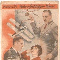 Cine: VUELO NOCTURNO PROGRAMA TARJETA MGM CLARK GABLE LOY HELEN HAYES JOHN LIONEL BARRYMORE. Lote 17945650