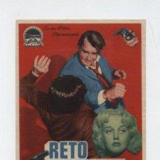Folhetos de mão de filmes antigos de cinema: RETO A LA MUERTE. SENCILLO DE PARAMOUNT. CINE ECHEGARAY (MÁLAGA). Lote 12952017