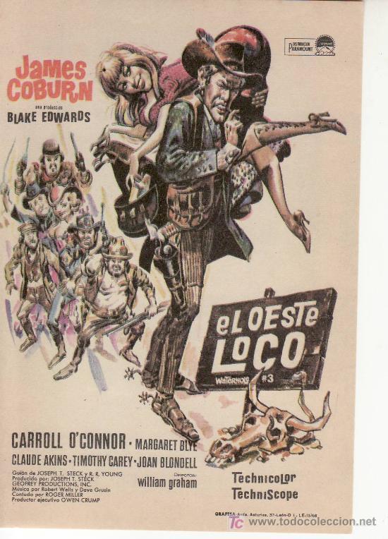 EL OESTE LOCO-JAMES COBURN. PROGRAMAS DE MANO PARA COLECCIONAR (Cine - Folletos de Mano)