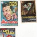 Cine: LOTE DE 3 PROGRAMAS DE CINE- GATO SIN BOTAS,GRAN CARUSO Y CUMBRES BORRASCOSAS. Lote 26065775