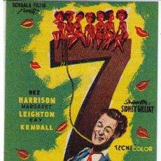 Cine: 7 ESPOSAS PARA UN MARIDO. SENCILLO DE BENGALA. TEATRO CERVANTES (MÁLGA) 1958. ¡IMPECABLE!. Lote 19496199