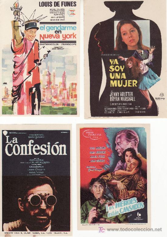 4 PROGRAMAS DE CINE- ¡COLECCIONALOS! GENDARME EN NUEVA YORK,YA SOY UNA...LOS HEROES...Y LA CONFESION (Cine - Folletos de Mano)