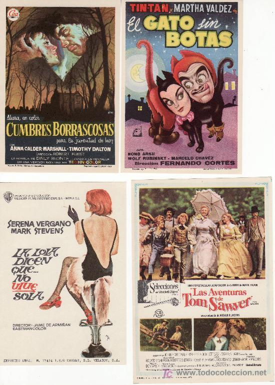 4 PROGRAMAS DE CINE- ¡COLECCIONALOS! GATO SIN BOTAS,LA LOLA DICEN...LAS AVENTURAS DE....CUMBRES.... (Cine - Folletos de Mano)