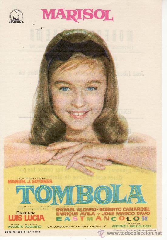 TOMBOLA. MARISOL. AÑO 1962 PROGRAMAS DE CINE- ¡COLECCIONALOS! (Cine - Folletos de Mano)