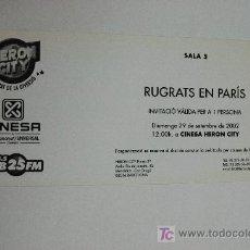 Foglietti di film di film antichi di cinema: RUGRATS EN PARIS - INVITACION AL PREESTRENO - ANIMACION NICKELODEON. Lote 13121917