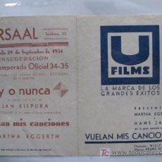 Cine: VUELAN MIS CANCIONES PROGRAMA DOBLE U FILMS MARTHA EGGERTH HANS JARAY WILLI FORST. Lote 13296410