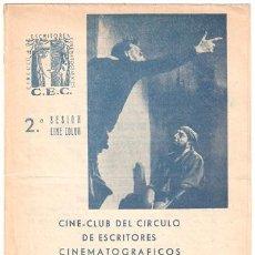 Cine: DON QUIJOTE PROGRAMA DOBLE LIBRITO CINE CLUB G. W. PABST CERVANTES. Lote 13311466