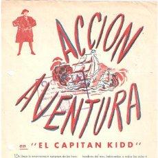 Cine: EL CAPITAN KIDD PROGRAMA SENCILLO CONCURSO CHARLES LAUGHTON RANDOLPH SCOTT. Lote 13313664