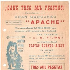 Cine: APACHE PROGRAMA SENCILLO CONCURSO CB BURT LANCASTER JEAN PETERS. Lote 18449940