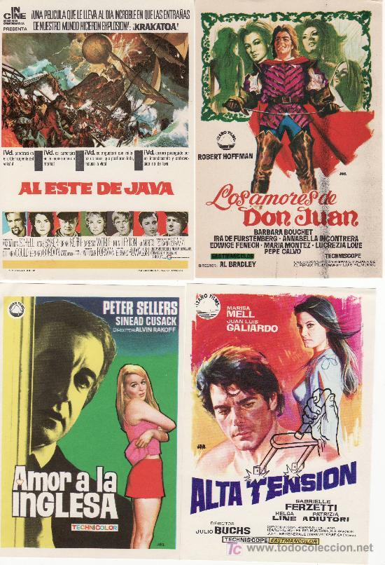 LOTE DE 4 PROGRAMAS DE CINE-ALTA TENSION,AMOR A LA INGLESA,AL ESTE DE JAVA ,LOS AMORES DE DON JUAN. (Cine - Folletos de Mano)