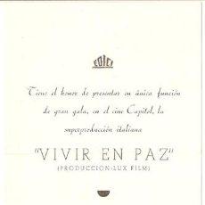 Cine: VIVIR EN PAZ PROGRAMA DOBLE EDICI ESPECIAL ESTRENO ALDO FABRIZI. Lote 13556258