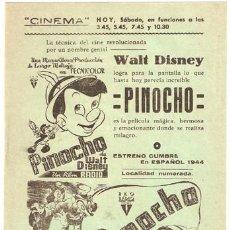 Cine: PINOCHO PROGRAMA SENCILLO LOCAL WALT DISNEY. Lote 13557084