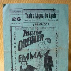 Cine: EMMA, PROGRAMA CINE, METRO GOLDWYN MAYER, MARIE DRESSLER, 1933.. Lote 13716409