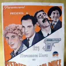 Cine: PISTOLEROS DE AGUA DULCE (MONKEY BUSINESS), PROGRAMA CINE, PARAMOUNT, LOS 4 HERMANOS MARX, 1931. Lote 13745803