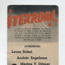 Cine: ¡TERROR! DOBLE DE UFA. PRINCIPAL CINEMA (BADALONA) 1944. Lote 19433631