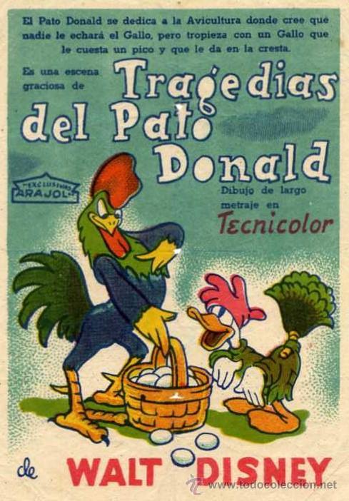 ARAJOL - WALT DISNEY - TRAGEDIAS DEL PATO DONALD - DONALD DUCK (Cine - Folletos de Mano - Infantil)