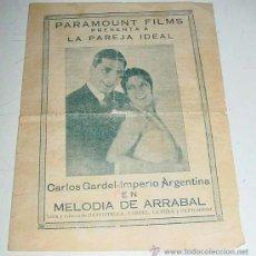 Cine: ANTIGUO PROGRAMA O FOLLETO CANCIONERO DE CINE - LA PAREJA IDEAL - CON PUBLICIDAD DE PARAMOUNT FILMS. Lote 25013365