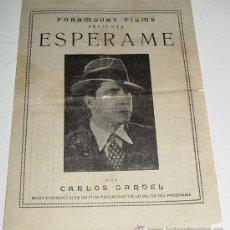 Cine: ANTIGUO PROGRAMA O FOLLETO CANCIONERO DE CINE - ESPERAME - CON PUBLICIDAD DE PARAMOUNT FILMS - CIN. Lote 25146836