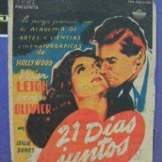 Cine: + 21 DIAS JUNTOS, LAWRENCE OLIVIER, VIVIAN LEIGH, CINE GOYA, ZARAGOZA,. Lote 14468404
