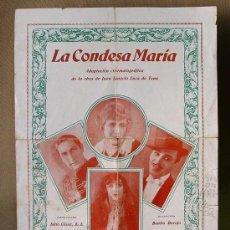 Cine: MUY RARO, LA CONDESA MARIA, J. CESAR, 31,5 X 24 CM, SUPER PROGRAMA CINE, PEROJO, 1928, . Lote 14470319