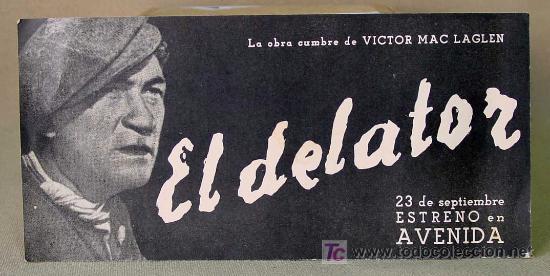 RARO, EL DELATOR, (THE INFORMER), RADIO FILMS, PROGRAMA CINE, 1935, JOHN FORD (Cine - Folletos de Mano - Aventura)