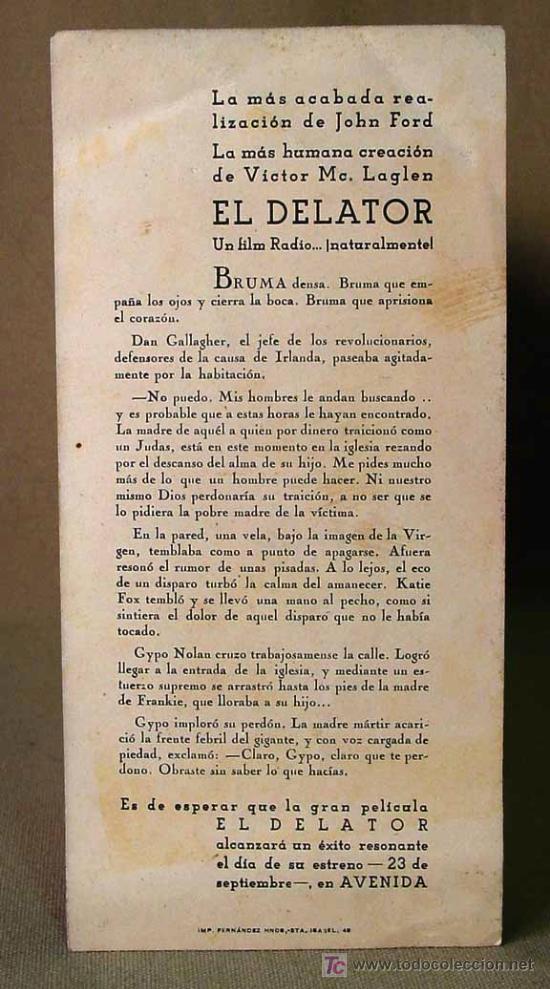 Cine: RARO, EL DELATOR, (THE INFORMER), RADIO FILMS, PROGRAMA CINE, 1935, JOHN FORD - Foto 2 - 14471339