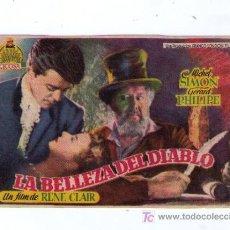 Cine: LA BELLEZA DEL DIABLO.SENCILLO DE CICOSA. AL DORSO PUBLICIDAD DE UN CINE DE AYAMONTE. Lote 14501863