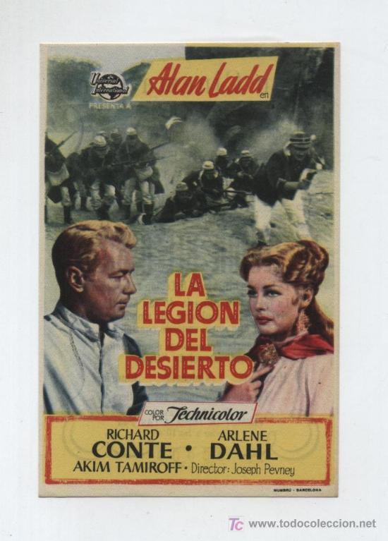 LA LEGIÓN DEL DESIERTO. SENCILLO DE UNIVERSAL INTERNATIONAL. GRAN CINEMA COCA 1954. (Cine - Folletos de Mano - Bélicas)