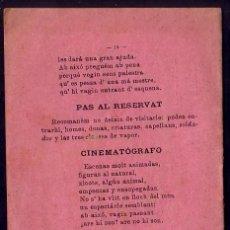 Foglietti di film di film antichi di cinema: BARCELONA 1899 * TEMPRANISIMO ANUNCIO DEL CINEMATOGRAFO EN ESPAÑA SOLO 3 AÑOS DESPUES DE LOS LUMIERE. Lote 25335004