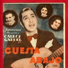 Cine: CUESTA ABAJO , CARLOS GARDEL , DOBLE , S1623. Lote 15063512