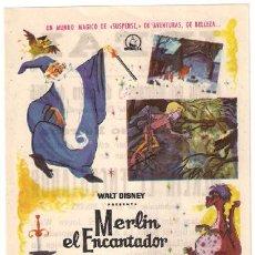 Cine: MERLIN EL ENCANTADOR PROGRAMA SENCILLO DIPENFA WALT DISNEY. Lote 15264296