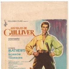 Cine: LOS VIAJES DE GULLIVER PROGRAMA SENCILLO GRANDE COLUMBIA KERWIN MATHEWS RAY HARRYHAUSEN. Lote 15264545