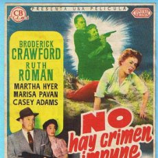 Cine: NO HAY CRIMEN IMPUNE. BRODERICK CRAWFORD, RUTH ROMAN. MODERNO, TARRAGONA.. Lote 15293325