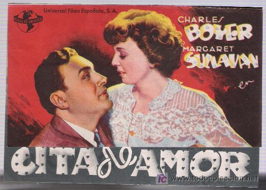 CITA DE AMOR. DOBLE DE UNIVERSAL FILMS ESPAÑOLA. CINE PICAROL 1944. (Cine - Folletos de Mano - Drama)