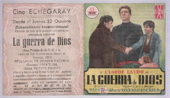 LA GUERRA DE DIOS.DOBLE DE CIFESA. CINE ECHEGARAY - MÁLAGA. (Cine - Folletos de Mano - Clásico Español)