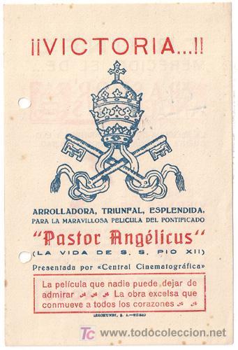 PASTOR ANGELICUS PROGRAMA LOCAL CINE RELIGIOSO PIO XII (Cine - Folletos de Mano - Documentales)