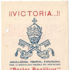 Cine: PASTOR ANGELICUS PROGRAMA LOCAL CINE RELIGIOSO PIO XII. Lote 15467833