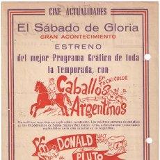 Cine: CABALLOS ARGENTINOS / DONALD Y PLUTO PROGRAMA LOCAL GRANDE WALT DISNEY. Lote 15468654