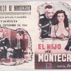 Cine: EL HIJO DE MONTECRISTO. DOBLE DE CIFESA. TEATRO VILLAMARTA 1944.. Lote 15470210