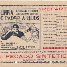 Cine: D DE PADRES A HIJOS 1928 PROGRAMA LOCAL GRANDE SUE CAROL DAVID ROLLINS TOM ELLIOTT CINE MUDO. Lote 15474595
