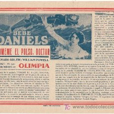 Cine: D TOMEME EL PULSO DOCTOR 1928 PROGRAMA LOCAL GRANDE BEBE DANIELS WILLIAM POWELL ARLEN CINE MUDO. Lote 15474639