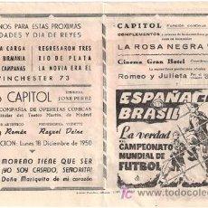 Cine: WINCHESTER 73 / ESPAÑA EN BRASIL PROGRAMA SENCILLO GRANDE UNIVERSAL JAMES STEWART FUTBOL RARO. Lote 15480412