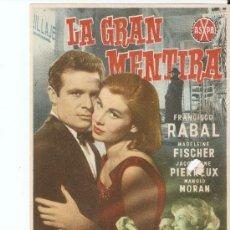 Cine: - PROGRAMA DE CINE PELICULA LA GRAN MENTIRA. Lote 22037867