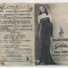 Cine: GILDA. SENCILLO DE COLUMBIA. GRAN CINEMA ALCAZAR.. Lote 15888325